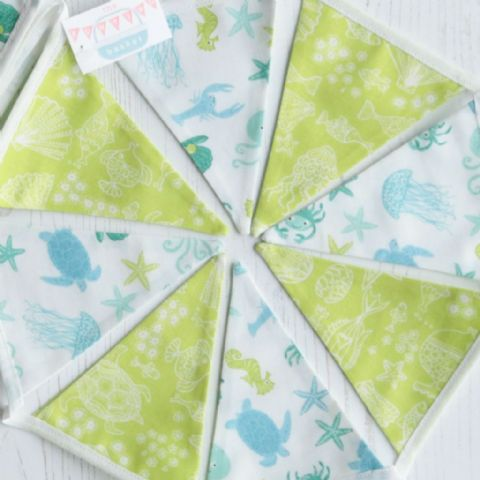 Under the Sea Mini Cotton Bunting (Price inc P&P) with 14 Flags
